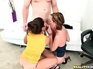 Pretty Mature Girlfriends Share One Cock 1