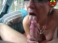This granny loves sex in public places